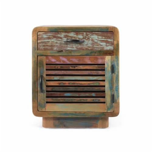 Emily Handcrafted Boho Reclaimed Wood Cabinet Perspective: front