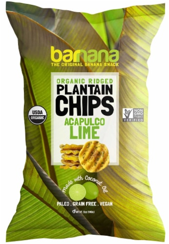 Barnana Lime Plantain Chips, 24 Gram -- 24 per case. Perspective: front