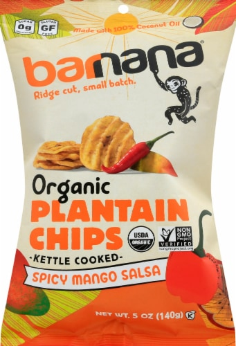 Barnana Organic Ridged Spicy Mango Salsa Plantain Chips Perspective: front