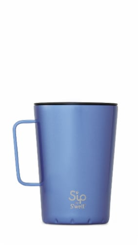 S'ip by S'well Vacuum Insulated Stainless Steel Takeaway Mug - Blue Sky Metallic Perspective: front