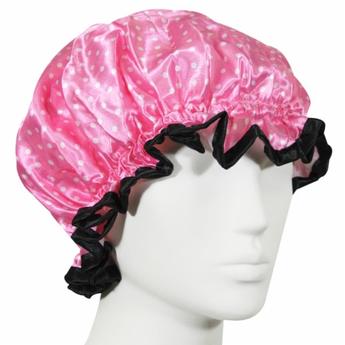 Kella Milla Stylish Satin Shower Cap, Petite Pink Dots Perspective: front