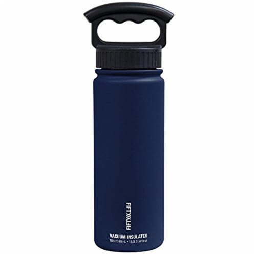 Fifty/Fifty 3-Finger Grip Cap Water Bottle - Navy Perspective: front