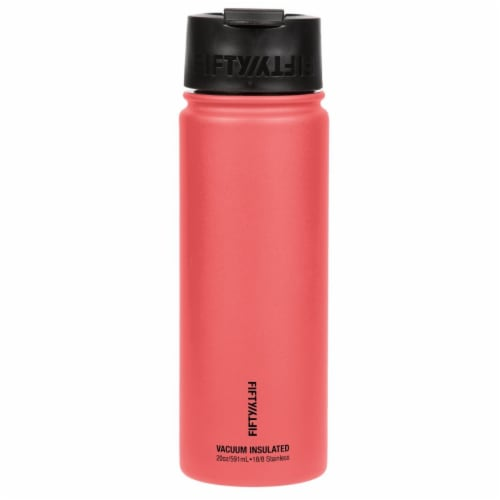 Fifty/Fifty Stainless Steel Insulated Bottle with Wide Mouth Flip Cap - Coral Perspective: front