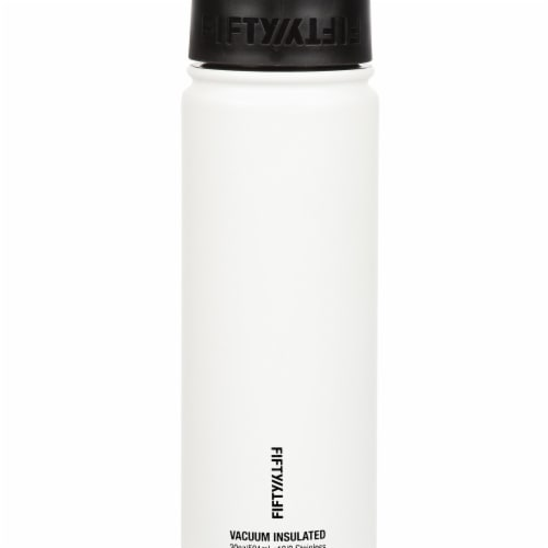 Fifty/Fifty Stainless Steel Insulated Bottle with Wide Mouth Flip Cap - Winter White Perspective: front