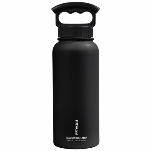 Fifty/Fifty  Bottle With Wide Mouth 3 Finger Grip Cap Matte Black Perspective: front