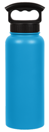 Fifty/Fifty Water Bottle & 3-Finger Grip Cap - Crater Blue Perspective: front