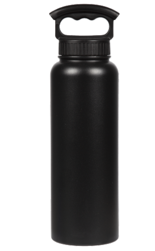 Fifty/Fifty Vacuum Insulated Stainless Steel Water Bottle & 3-Finger Grip Cap - Black Perspective: front