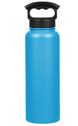 Fifty/Fifty Vacuum Insulated Stainless Steel Water Bottle & 3-Finger Grip Cap - Crater Blue Perspective: front