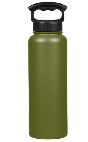 Fifty/Fifty Vacuum Insulated Stainless Steel Water Bottle & 3-Finger Grip Cap - Olive Green Perspective: front