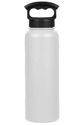 Fifty/Fifty Vacuum Insulated Stainless Steel Water Bottle & 3-Finger Grip Cap - Winter White Perspective: front