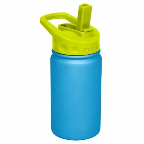 Fifty/Fifty Kids Bottle with Straw Cap - Blue/Lime Perspective: front