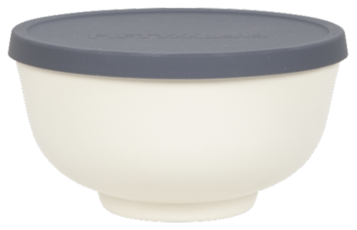 Fifty/Fifty Double Wall Vacuum Insulated Bowl with Lid - White Perspective: front