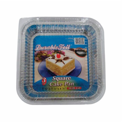 Home Plus 6392005 7.87 x 7.87 in. Durable Foil Cake Pan - Silver- pack of 12 Perspective: front