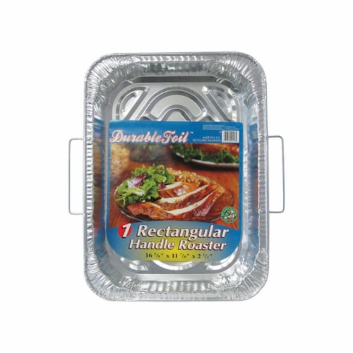 Home Plus 6392021 11.87 x 16.62 in. Durable Foil Roaster Pan with Handles - Silver- pack of 1 Perspective: front