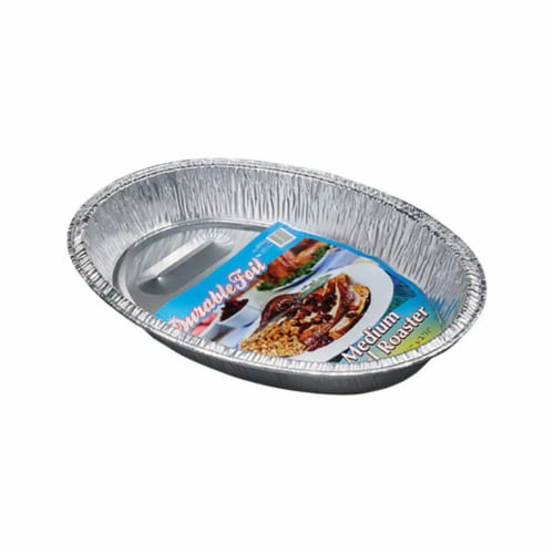 Home Plus 6392054 11.5 x 16.5 in. Durable Foil Oval Roaster Pan - Silver- pack of 12 Perspective: front