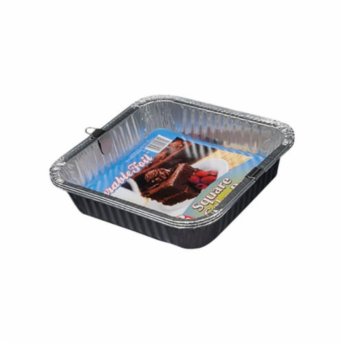 Home Plus 6392062 8 x 8 in. Durable Foil Square Cake Pan - Silver- pack of 12 Perspective: front