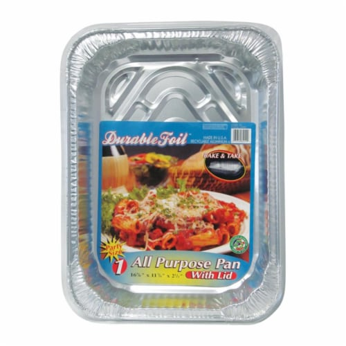 Home Plus 6392120 11.87 x 16.62 in. Durable Foil All Purpose Pan with Lid - Silver- pack of 1 Perspective: front
