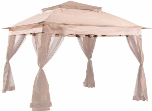 Living Accents Pop-Up Pagoda Gazebo - Beige Perspective: front
