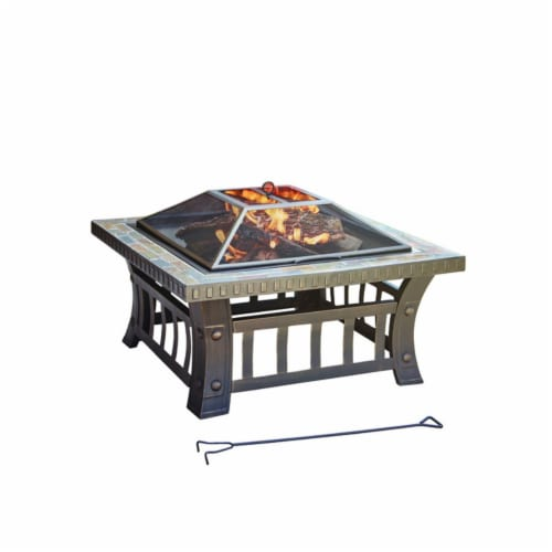 Living Accents 4903852 Steel Square Wood Fire Pit - 20 x 30 x 30 in. Perspective: front