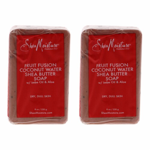 Shea Moisture Fruit Fusion Coconut Water Energizing Shea Butter Soap  Pack of 2 Bar Soap 8 oz Perspective: front