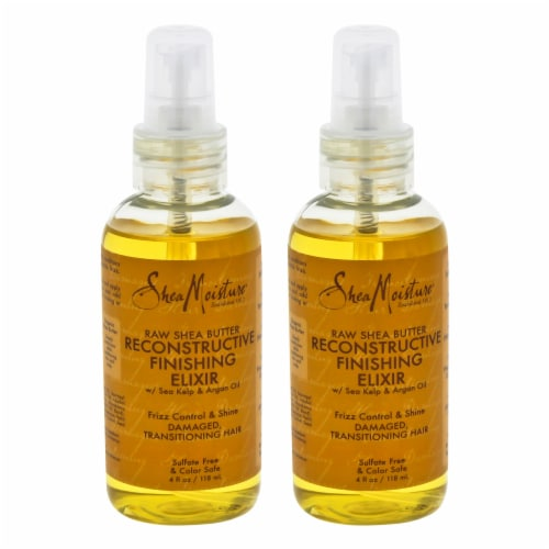 Shea Moisture Raw Shea Butter Reconstructive Finishing Elixir  Pack of 2 Spray 4 oz Perspective: front