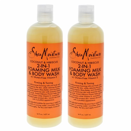 Shea Moisture Coconut & Hibiscus 2In1 Foaming Milk & Body Wash Firming & Toning  Pack of 2 16 Perspective: front