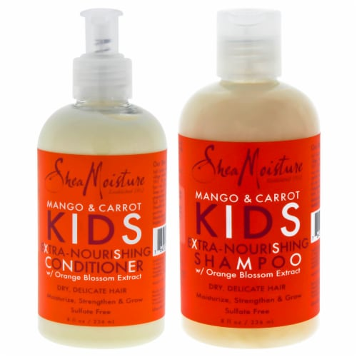Shea Moisture Mango and Carrot Kids Extra Nourishing Duo Shampoo and Conditioner 8 oz Perspective: front