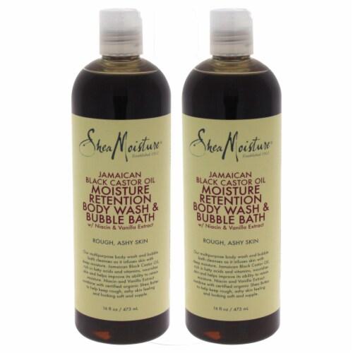 Shea Moisture Jamaican Black Castor Oil Moisture Retention Body Wash & Bubble Bath  Pack of 2 Perspective: front
