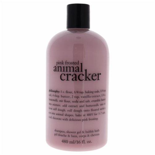 Philosophy Pink Frosted Animal Cracker Shampoo, Shower Gel and Bubble Bath 16 oz Perspective: front