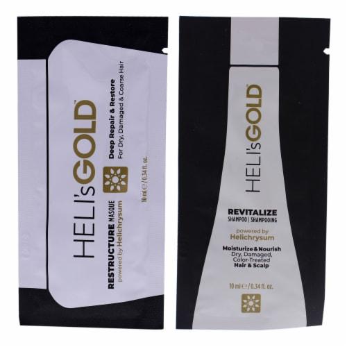 Helis Gold The Revival Series Kit 0.34oz Restructure Masque, 0.34oz Revitalize Shampoo 2 Pc Perspective: front