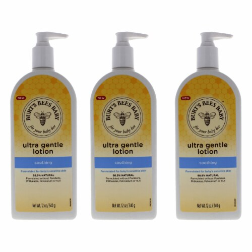Burt's Bees Baby Ultra Gentle Lotion  Soothing  Pack of 3 Body Lotion 12 oz Perspective: front