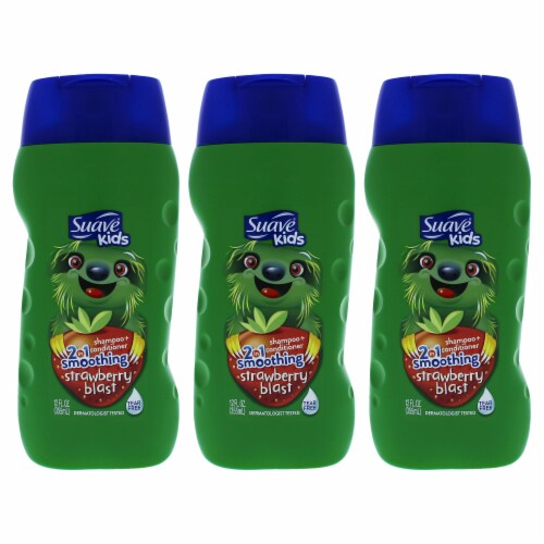 """""""""""Suave Kids 2In1 Shampoo Smoothers Strawberry  Pack of 3 12 oz"""""""" Perspective: front"""