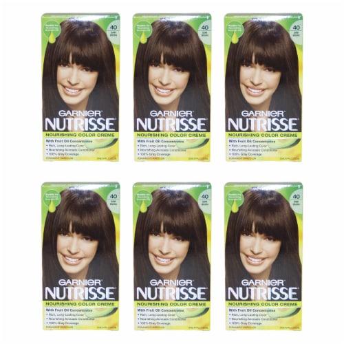 Garnier Nutrisse Nourishing Color Creme  40 Dark Brown  Pack of 6 Hair Color 1 Application Perspective: front