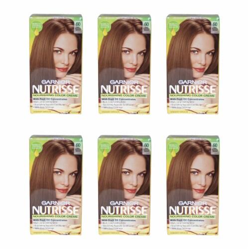 Garnier Nutrisse Nourishing Color Creme  60 Light Natural Brown  Pack of 6 Hair Color 1 Appli Perspective: front
