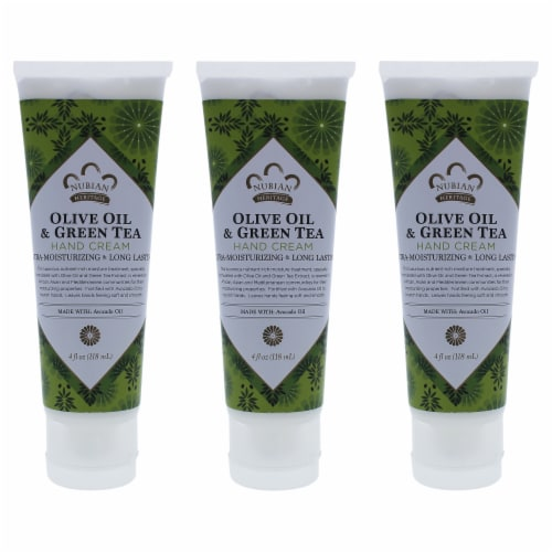 Nubian Heritage Olive Oil and Green Tea Hand Cream  Pack of 3 4 oz Perspective: front