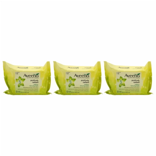 Aveeno Positively Radiant Makeup Removing Wipes  Pack of 3 25 Count Perspective: front
