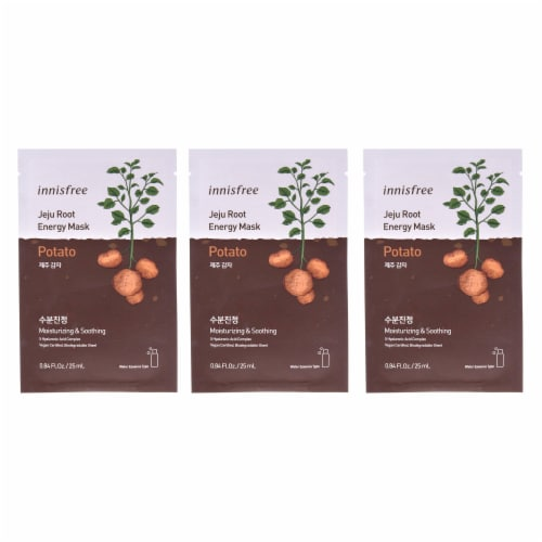 Innisfree Jeju Root Energy Mask  Potato  Pack of 3 0.84 oz Perspective: front