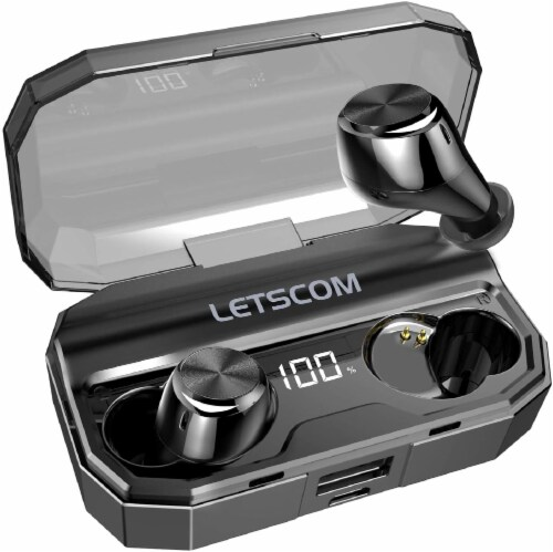 Letsfit T22 Wireless Bluetooth 5.0 In-Ear Earbuds - Black Perspective: front