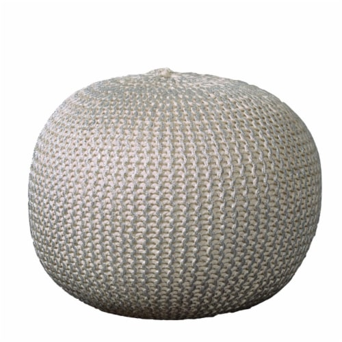 LR Home POUFS08125BNS1814 Fairbanks Bone Knitted Pouf Ottoman, Silver Perspective: front