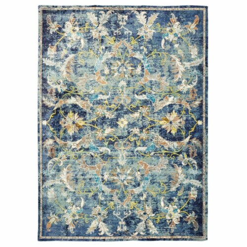 LR Home GALAC81273NAM5080 Gala Jacobean Gentility Indoor Area Rug, Navy - 5 x 8 ft. Perspective: front