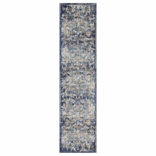 LR Home GALAC81273NAM2389 Gala Jacobean Gentility Runner Indoor Area Rug, Navy Multi - 2 x 8 Perspective: front