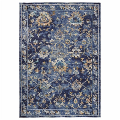 LR Home GALAC81275INM5080 Gala Jacobean Gentility Indoor Area Rug, Indigo - 5 x 8 ft. Perspective: front