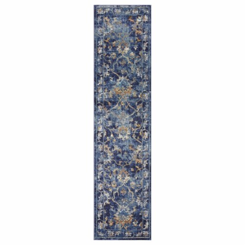 LR Home GALAC81275INM2389 Gala Jacobean Gentility Runner Indoor Area Rug, Indigo Multi - 2 3 Perspective: front