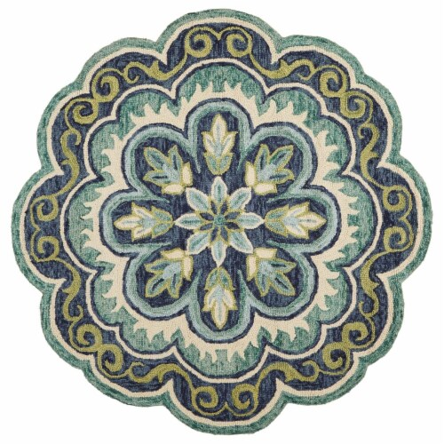 LR Home DAZZL54076GRN60RD Dazzle Fantastic Floret Round Indoor Area Rug, Green - 6 x 6 ft. Perspective: front