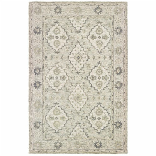LR Home MODTR81286SEW90C0 Modern Traditions Indoor Area Rug, Sea Weed Green - 9 x 12 ft. Perspective: front