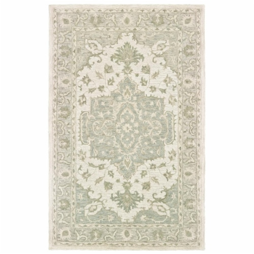 LR Home MODTR81289SGG5079 Modern Traditions Indoor Area Rug, Sea Green & Gray - 5 ft. x 7 ft. Perspective: front