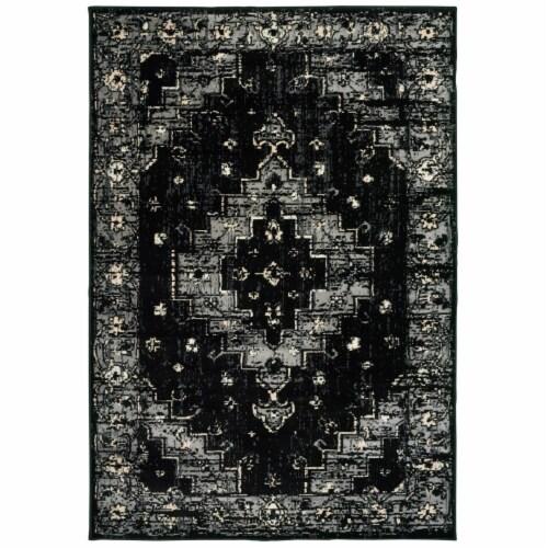 LR Home INFIN81308BKG5272 Infinity Geometric Oriental Indoor Area Rug, Black & Gray - 5 2 x 7 Perspective: front