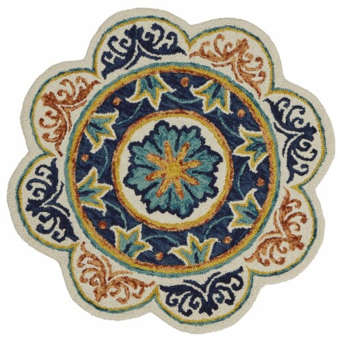 LR Home DAZZL54079IVU60RD Dazzle Floral Medallion Round Indoor Area Rug, Ivory & Blue - 6 ft. Perspective: front
