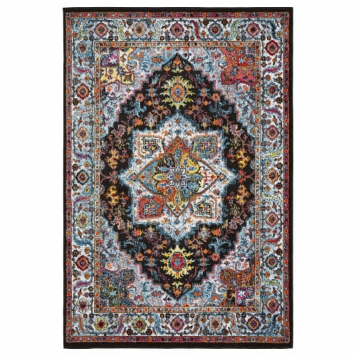 LR Home FUSIO81345BKB7995 Fusion Modern Oriental Indoor Area Rug, Black & Blue - 7 9 x 9 ft. Perspective: front