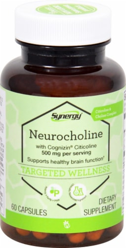 Vitacost Synergy Neurocholine with Cognizin Citicoline Dietary Supplement Capsules 500mg Perspective: front